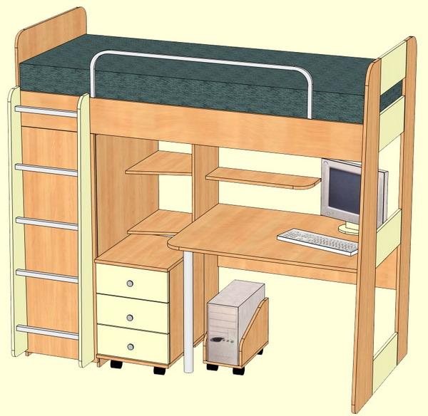 Кровать чердак со столом внизу своими руками